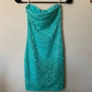 Sexy Turquoise mini lace dress